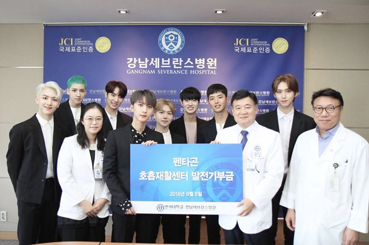PENTAGON ủng hộ 50 triệu won (1 tỷ 046 triệu VNĐ) cho bệnh nhân